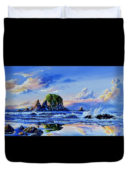 Duvet Cover featuring the painting Beyond The Shore by Hanne Lore Koehler