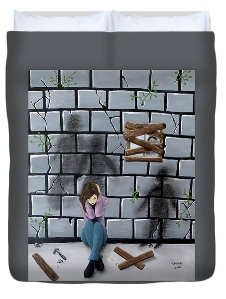 Duvet Cover featuring the painting Beyond The Wall by Teresa Wing