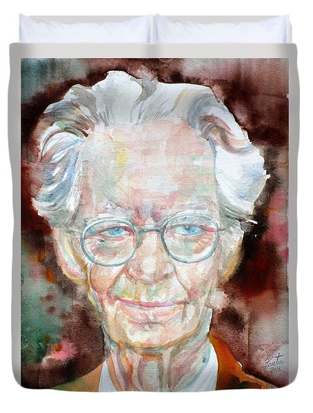 B.f. Skinner - Watercolor Portrait Duvet Cover by Fabrizio Cassetta