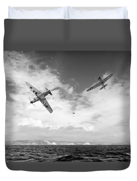 Duvet Cover featuring the photograph Bf109 Down In The Channel Bw Version by Gary Eason
