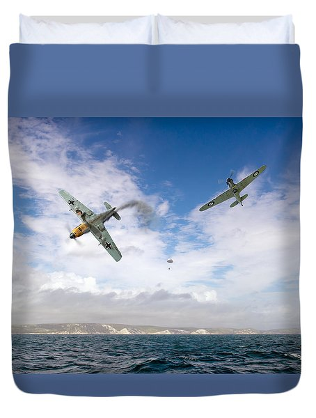 Duvet Cover featuring the photograph Bf109 Down In The Channel by Gary Eason