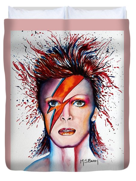 Duvet Cover featuring the painting Bi Bi Bowie by Maria Barry