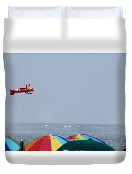 Duvet Cover featuring the photograph Bi-plane Buzzing The Beach by Robert Banach