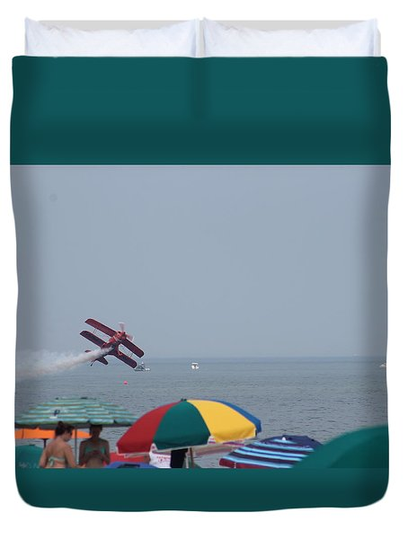 Duvet Cover featuring the photograph Bi-plane Fly-by by Robert Banach