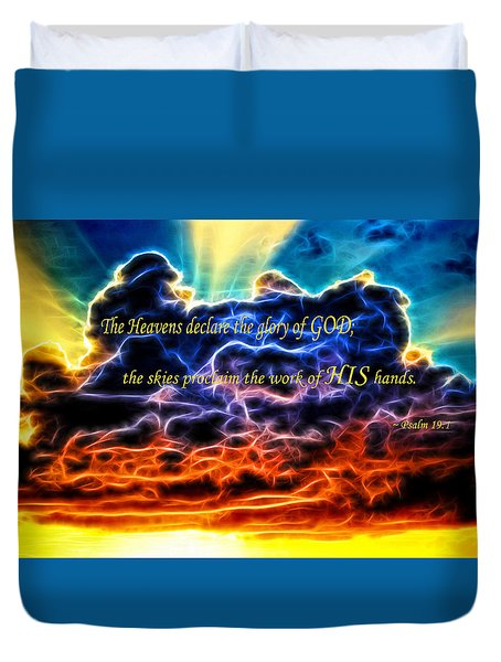 Duvet Cover featuring the photograph Biblical Electrified Cumulus Clouds Skyscape - Psalm 19 1 by Shelley Neff