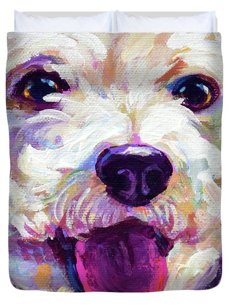 Duvet Cover featuring the painting Bichon Frise Face by Robert Phelps