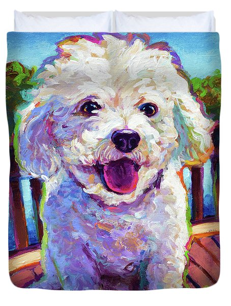 Duvet Cover featuring the painting Bichon Frise by Robert Phelps