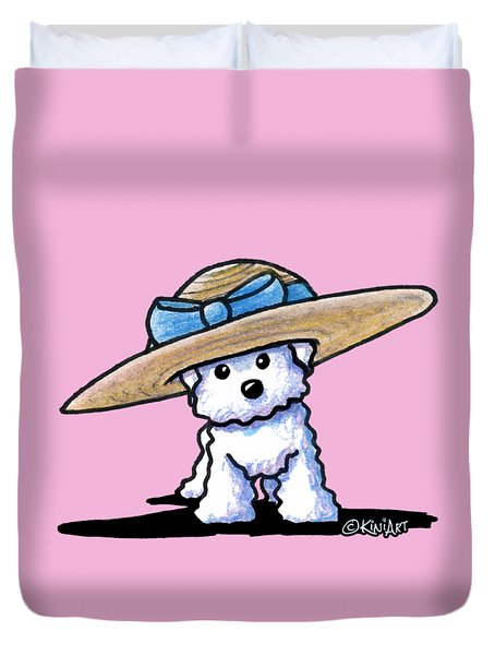 Bichon In Hat Duvet Cover