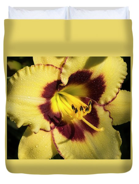 Duvet Cover featuring the photograph Bicolored Lily by Jean Noren