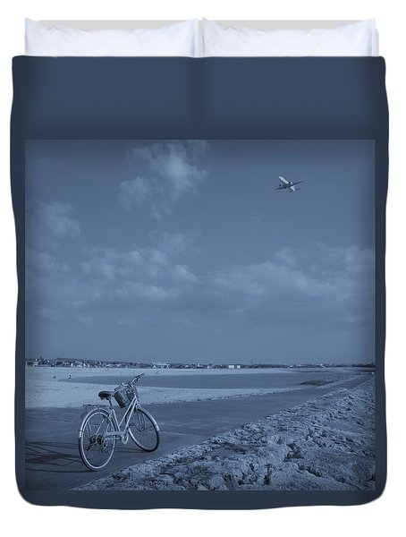 Bicycle And Airplanes And The Sky Duvet Cover