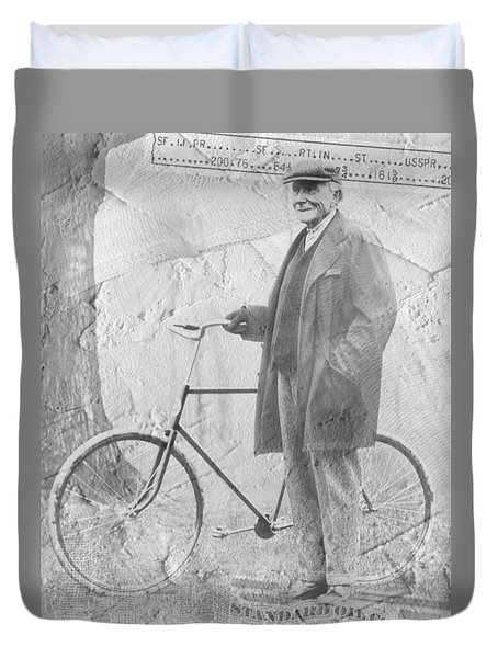 Bicycle And Jd Rockefeller Vintage Photo Art Duvet Cover by Karla Beatty