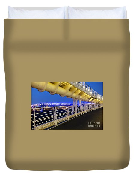 Duvet Cover featuring the photograph Bicycle And Pedestrian Overpass by Yali Shi