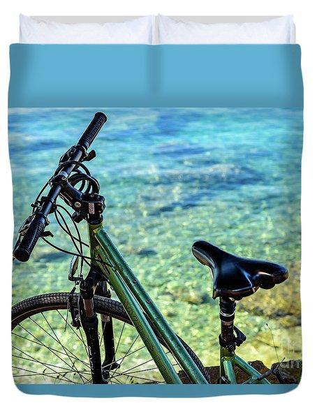 Bicycle By The Adriatic, Rovinj, Istria, Croatia Duvet Cover