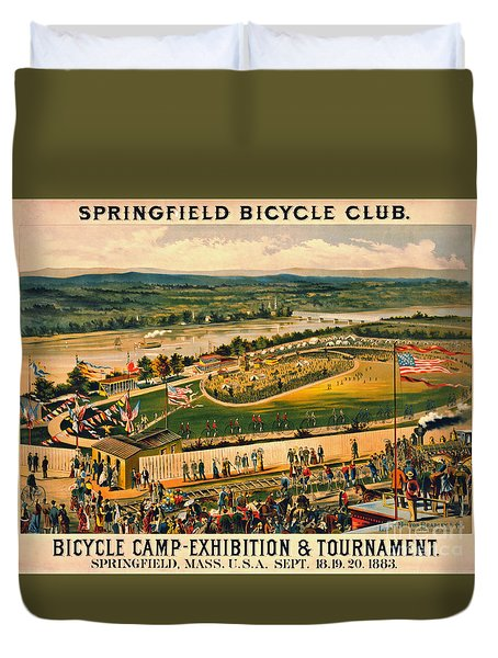 Duvet Cover featuring the photograph Bicycle Camp 1883 by Padre Art
