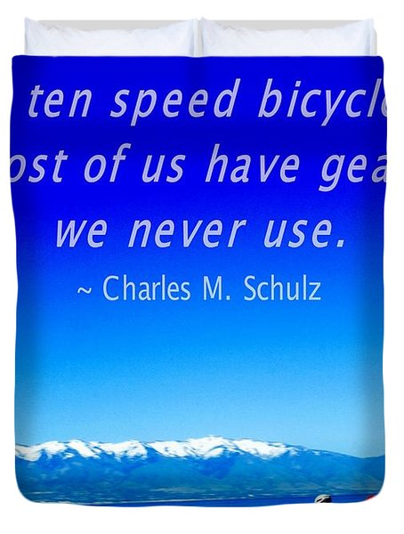 Bicycle Charles M Schulz Quote Duvet Cover