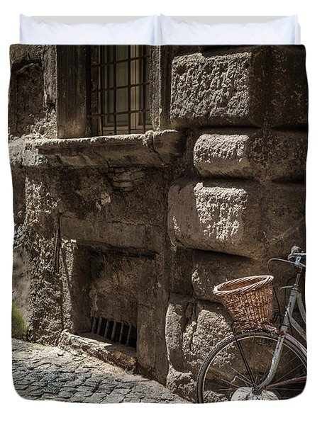 Bicycle In Rome, Italy Duvet Cover