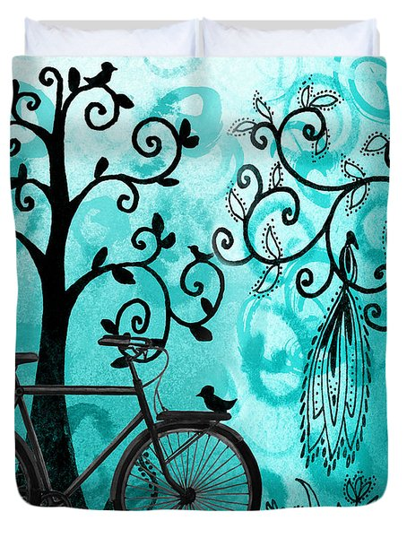 Bicycle In Whimsical Forest Duvet Cover