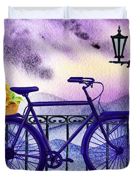 Blue Bicycle And Sunflowers By Irina Sztukowski  Duvet Cover