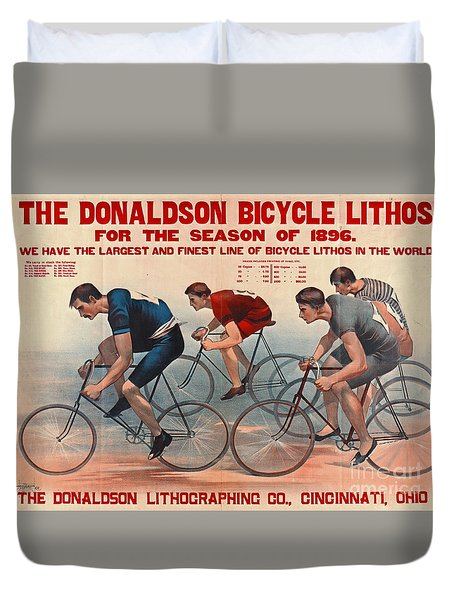 Duvet Cover featuring the photograph Bicycle Lithos Ad 1896 by Padre Art