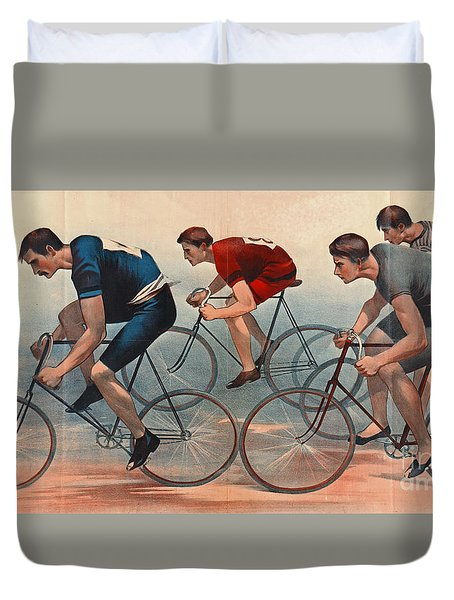 Duvet Cover featuring the photograph Bicycle Lithos Ad 1896nt by Padre Art