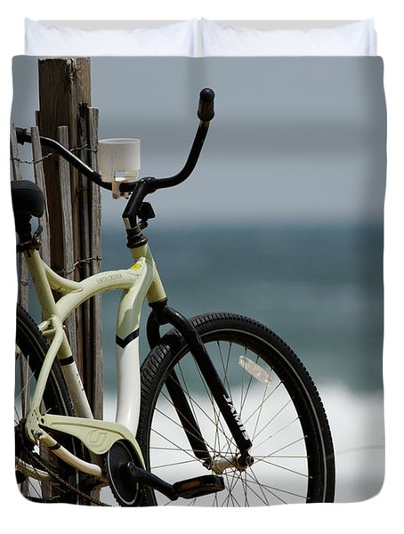 Bicycle On The Beach Duvet Cover by Julie Niemela
