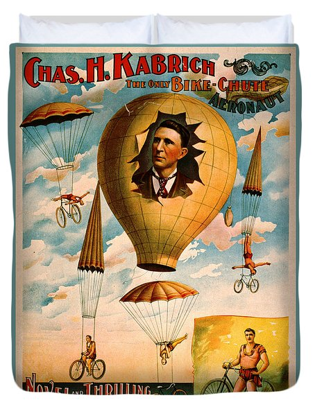 Duvet Cover featuring the photograph Bicycle Parachute Act 1896 by Padre Art