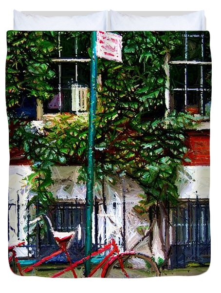 Bicycle Parking Sketch Duvet Cover by Randy Aveille