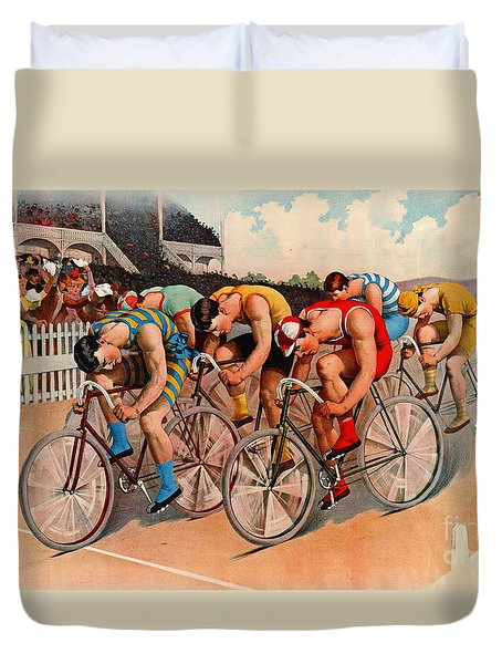 Bicycle Race 1895 Duvet Cover by Padre Art