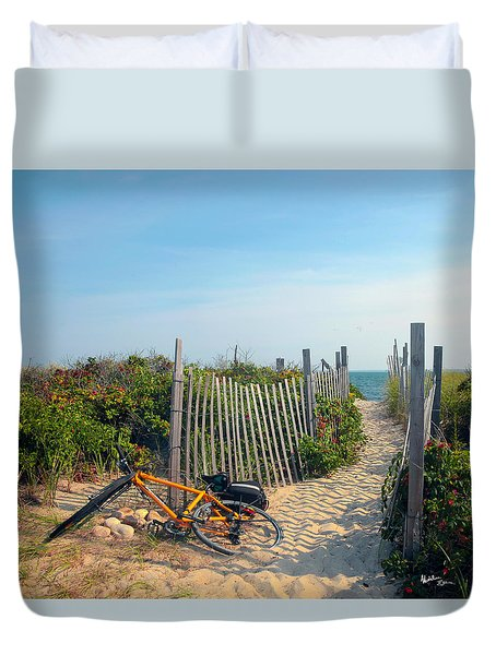 Duvet Cover featuring the photograph Bicycle Rest by Madeline Ellis