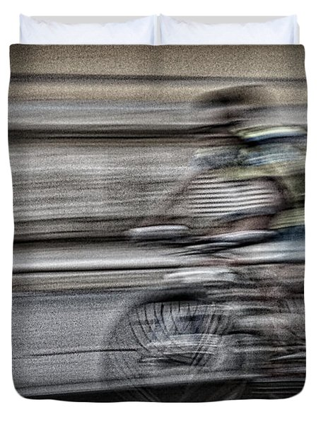 Bicycle Rider Abstract Duvet Cover