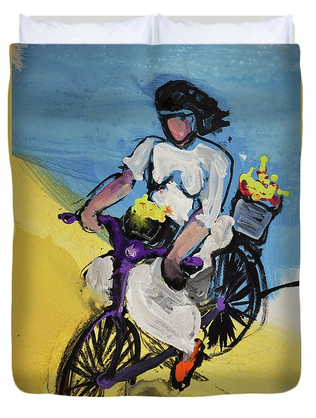 Bicycle Riding With Baskets Of Flowers Duvet Cover by Amara Dacer