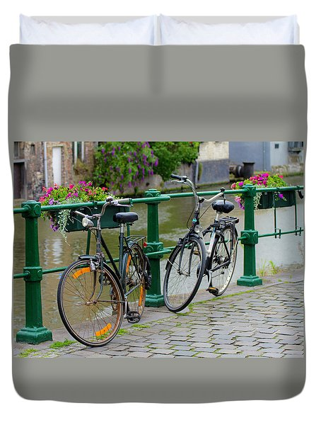 Bicycles And Flower Boxes Duvet Cover