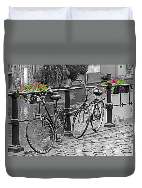 Bicycles And Flower Boxes, Selective Color. Duvet Cover