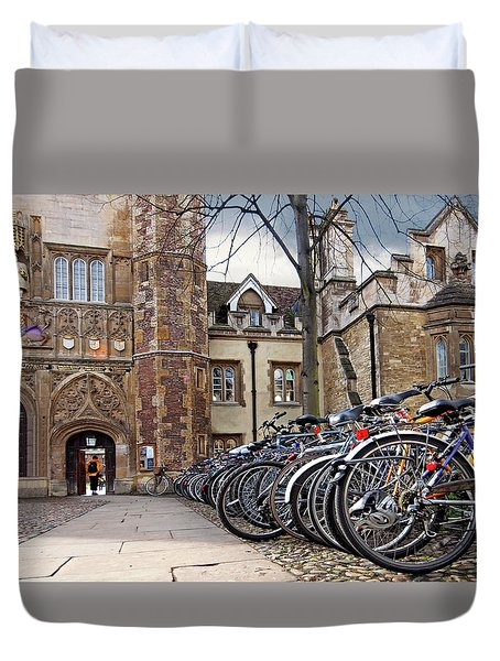 Bicycles At Trinity College Cambridge Duvet Cover by Gill Billington
