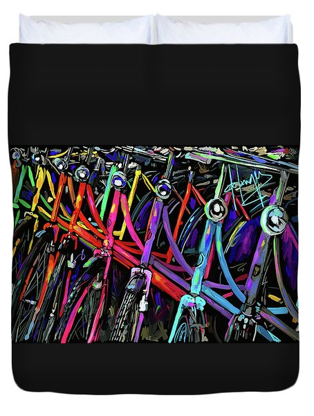 Bicycles In Amsterdam Duvet Cover by DC Langer