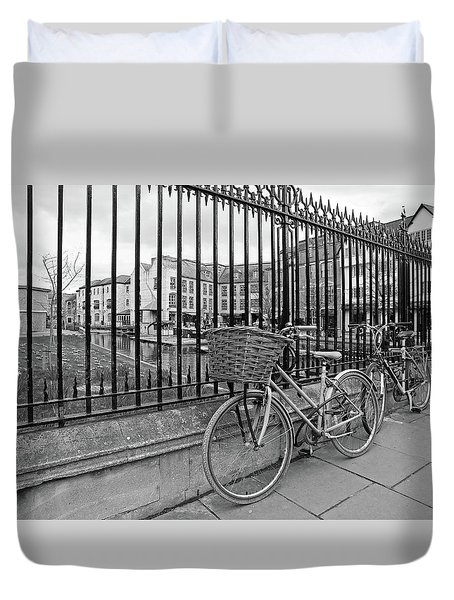 Duvet Cover featuring the photograph Bicycles On Magdalene Bridge Cambridge In Black And White by Gill Billington