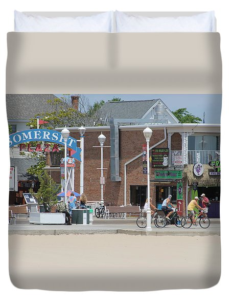 Duvet Cover featuring the photograph Bicycling By Somerset Plaza by Robert Banach