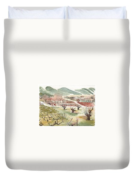 Duvet Cover featuring the painting Bicycling Through Vineyards by Tilly Strauss