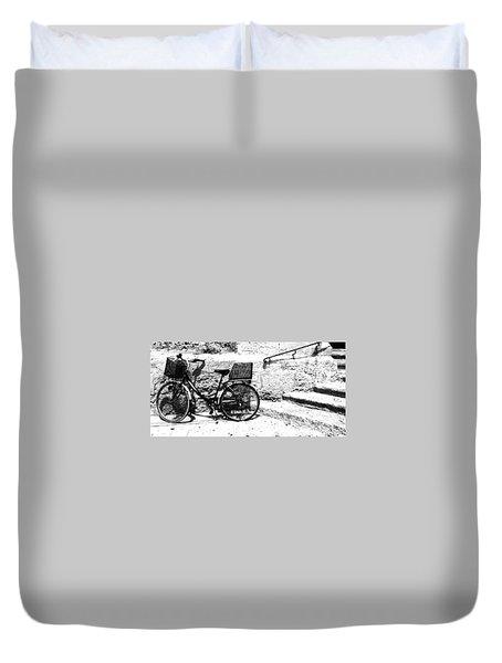Bicyle In Cuitadella Duvet Cover