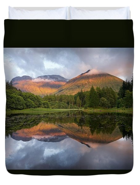 Bidean Nam Bian At Sunset Duvet Cover