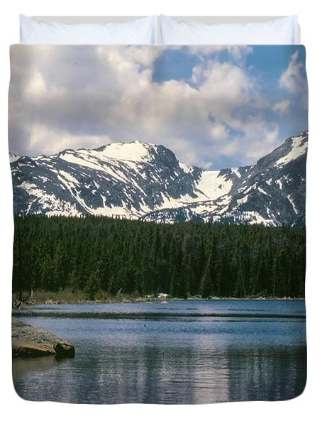 Bierstadt Lake Hallett And Otis Peaks Rocky  Mountain National Park Duvet Cover