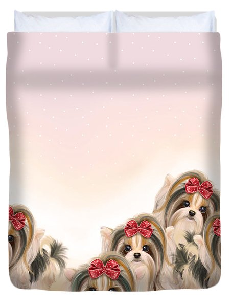 Duvet Cover featuring the painting Biewer Pack by Catia Lee