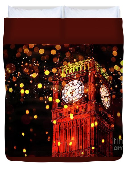 Big Ben Aglow Duvet Cover