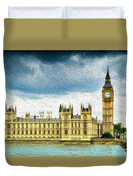 Big Ben And Houses Of Parliament With Thames River Duvet Cover
