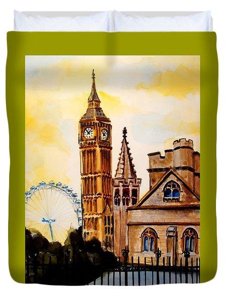 Big Ben And London Eye - Art By Dora Hathazi Mendes Duvet Cover by Dora Hathazi Mendes