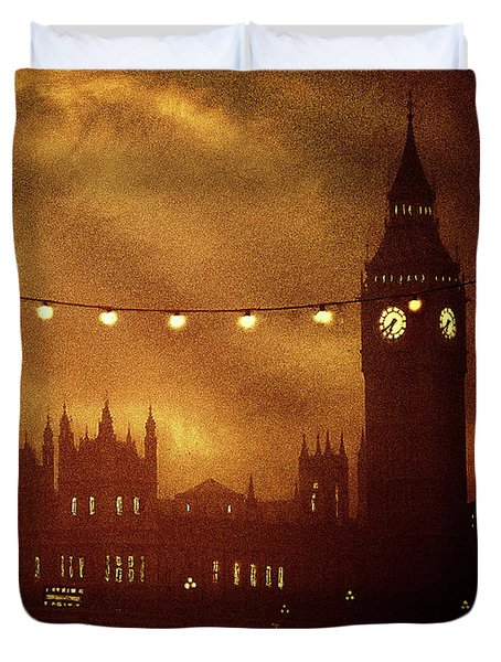 Duvet Cover featuring the digital art Big Ben At Night by Fine Art By Andrew David