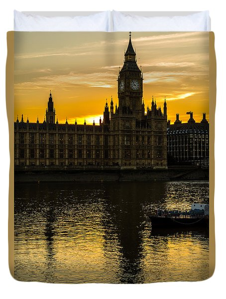 Big Ben Tower Golden Hour In London Duvet Cover