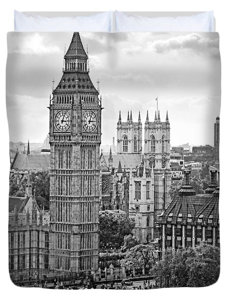 Big Ben With Westminster Abbey Duvet Cover