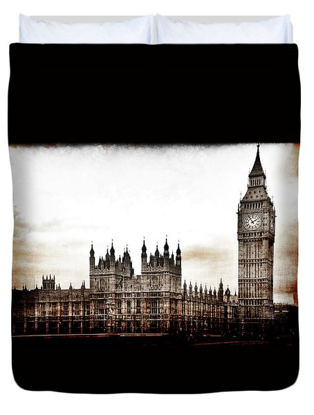 Duvet Cover featuring the photograph Big Bend And The Palace Of Westminster by Jennifer Wright
