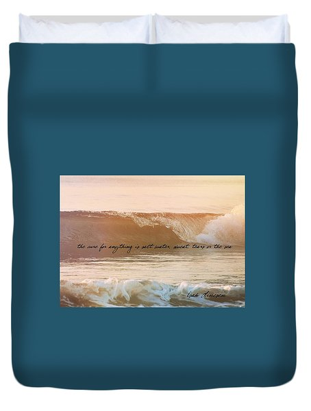 Big Blue Ocean Quote Duvet Cover by JAMART Photography